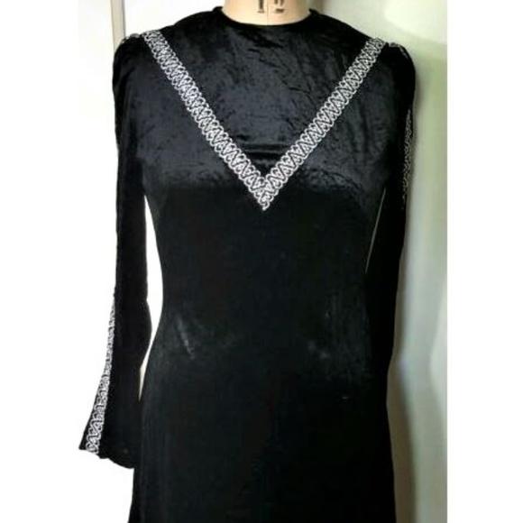 Vintage Dresses & Skirts - Vintage 1970s velvet black & silver maxi dress